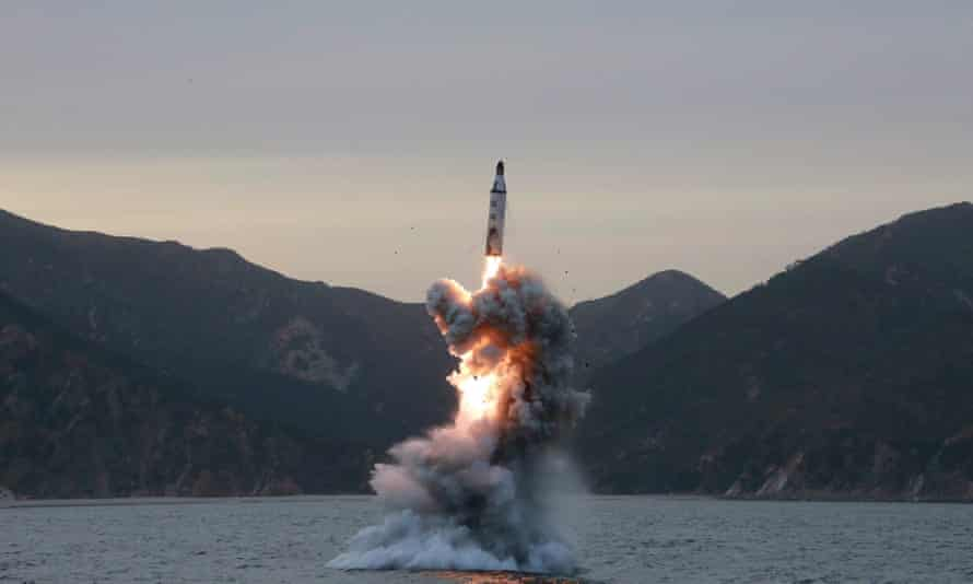 A photo released by the North Korean Central News Agency shows a test fire of a strategic submarine ballistic missile