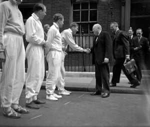 1 June 1954Prime Minister Sir Winston Churchill shakes hands with Roger Bannister outside No 10 Downing Street, London.