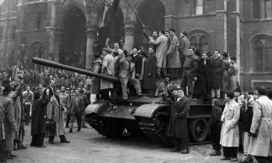 Rebels on a tank in Budapest during the revolution in 1956