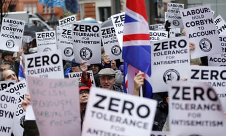 A demonstration organised by the Campaign Against AntiSemitism outside the head office of the Labour Party in central London last April.
