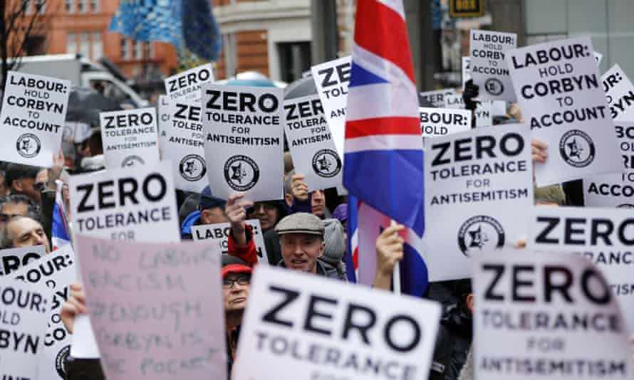 A 2018 protest against antisemitism outside the Labour party HQ.