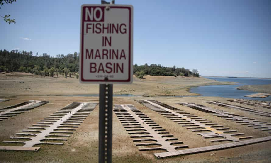 The empty boat docks are on land in Folsom Lake, California, which is at 37% of normal capacity amid a drought emergency in most of the state.