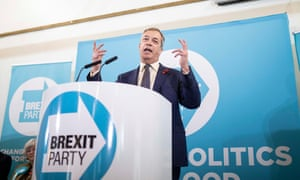 Nigel Farage speaks during a Brexit party election tour event at Little Mill village hall near Pontypool.