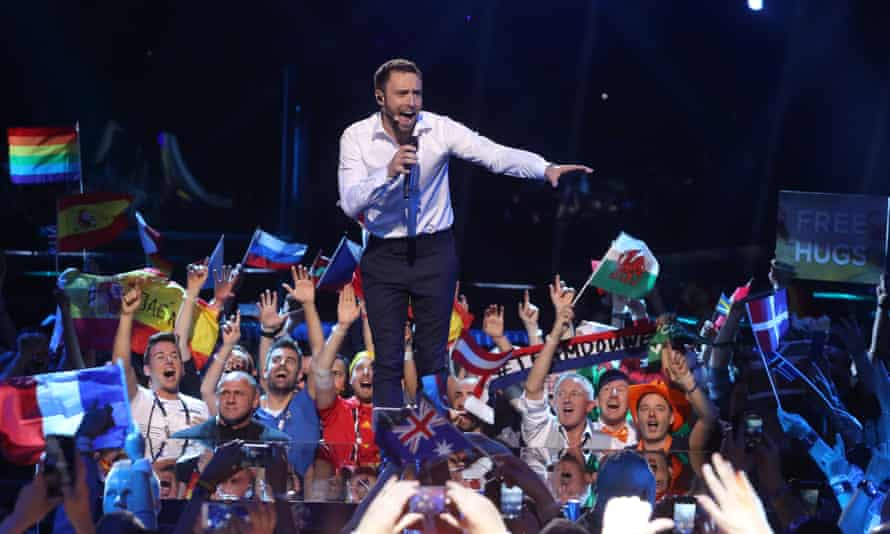 Mans Zelmerlow hosts the Eurovision final.