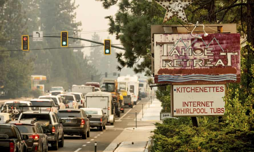 Traffic on Highway 50 stands still as South Lake Tahoe try to evacuate.