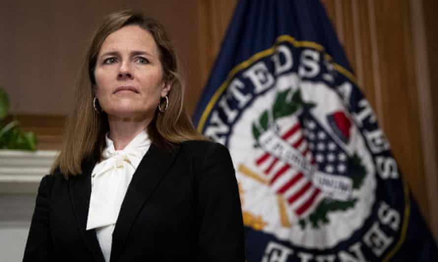Amy Coney Barrett in Washington on Thursday. St Joseph County Right to Life is considered an extreme anti-choice group by pro-choice activists in South Bend.