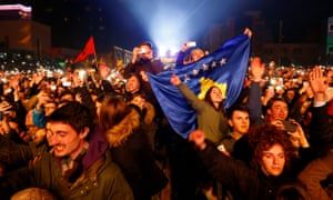 Crowds at Rita Ora's concert celebrate the 10th anniversary of Kosovo's independence in Pristina on 17 February 2018.