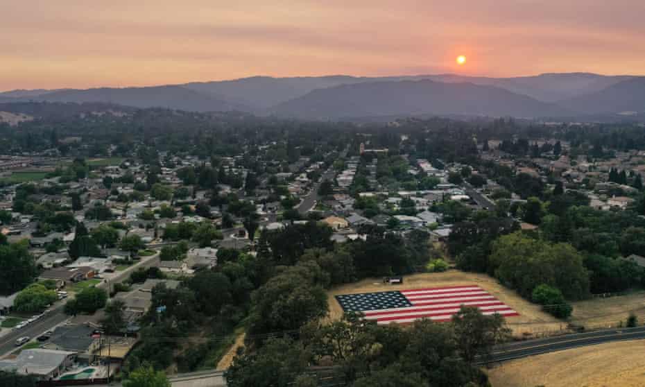 The sky is darkened by wildfire smoke in Vacaville, northern California, last week.