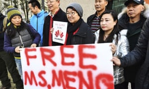 People call for the release of Meng Wanzhou, Huawei's chief financial officer who was arrested in Canada at the request of the US.