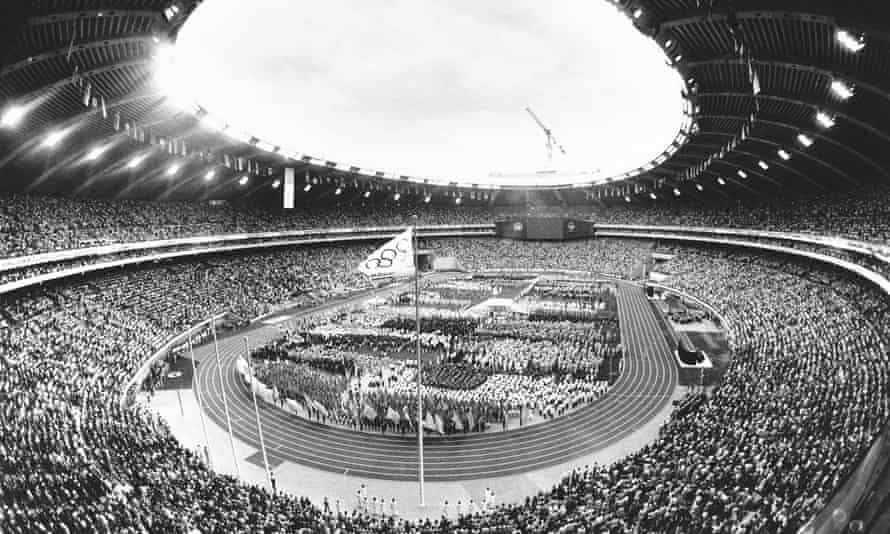 Athletes and fans fill the Olympic stadium in Montreal for the opening ceremony, 17 July 1976.