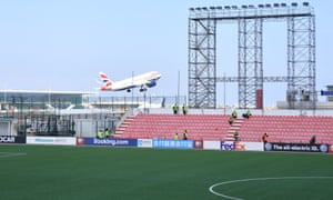 Gibraltar's Victoria Stadium backs on to an airport.