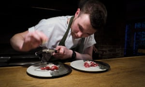 A chef prepares dish at the Black Swan in North Yorkshire.