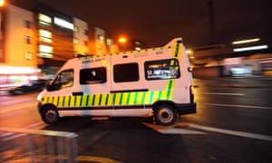 A St John ambulance leaves the Royal Liverpool hospital