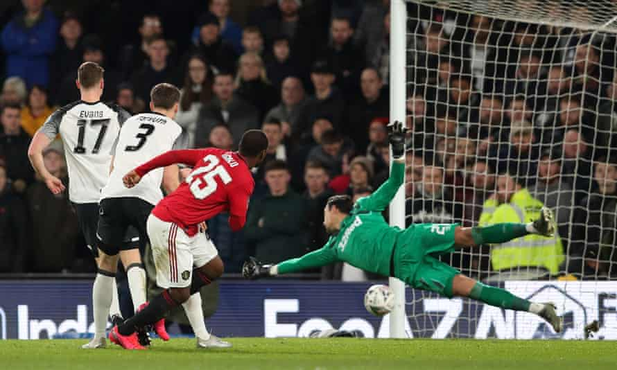 Manchester United beat Derby 3-0 in the last FA Cup tie played, on 4 March.