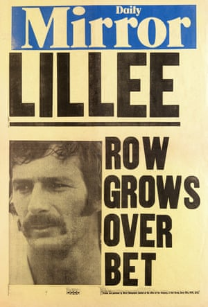 A Daily Mirror news poster featuring Australian cricketer Dennis Lillee after England had won the third Test.