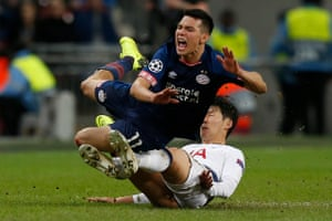 Son takes down Lozano and earns a yellow card.