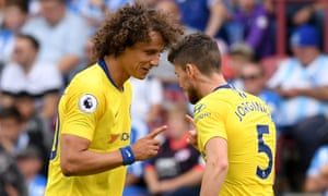 Maurizio sarris style already paying dividends for david luiz and david luiz congratulates jorginho for scoring chelseas second goal from the spot photograph darren walshchelsea fc via getty images stopboris Gallery