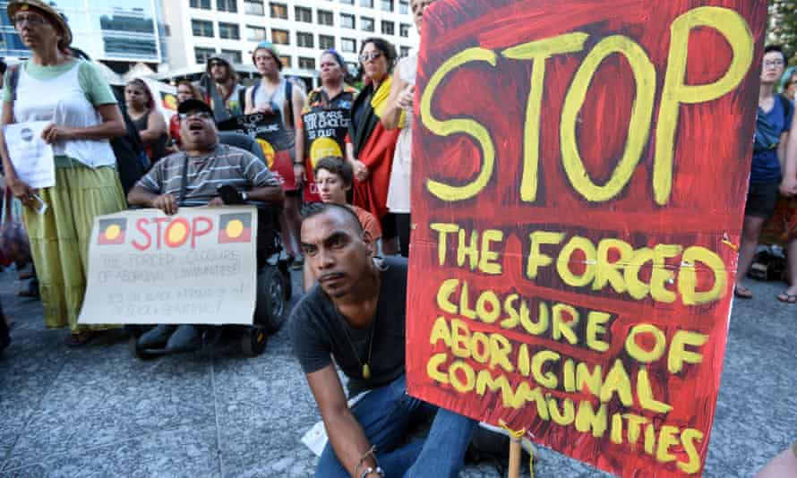 Demonstrators protest in Brisbane on 19 March against the West Australian government's plan to close remote Aboriginal communities.