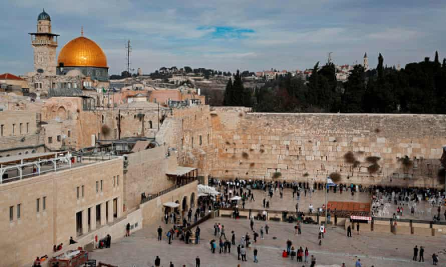 The Dome of the Rock, left, in the al-Aqsa mosque compound, and the Western Wall, right.