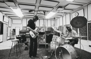 Roger Waters and Nick Mason of Pink Floyd during a studio session in the early 1970s