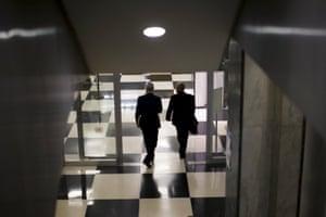 Diplomats walk through the secretariat building