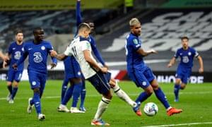 Erik Lamela scores Tottenham's equaliser to take the game to a penalty shootout.