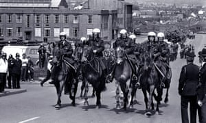 Police horses at the Orgreave coking plant during the 1984-85 miners' strike.