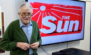 David Hockney with his redesign masthead for the Sun