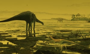 An artist's impression of primitive sauropods wading in the Scottish lagoon.