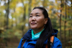 Lhakpa Sherpa in Talcott Mountain State Park in Simsbury, Connecticut, where she hikes to prepare for her 10th summit of Everest in the spring of 2020.