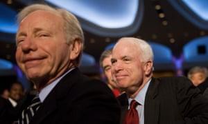 Then Senator Joe Lieberman with presidential candidate John McCain in 2008.