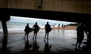 Surfers at Deerfield Beach, Florida