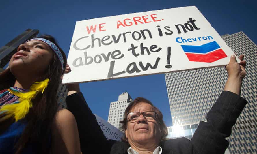A demonstration in New York in 2013, just before Chevron was found liable for $9.5bn in damages in Ecuadorean courts.
