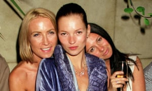 Meg Matthews, Kate Moss and Fran Cutler posing together while out drinking in 1998