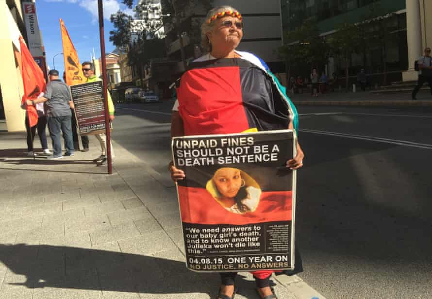 Ms Dhu's grandmother, Carol Roe, outside Perth magistrates court in March 2016 before the resumption of the coronial inquest into her death