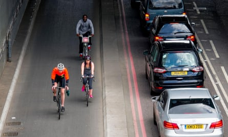 Cyclists in London.