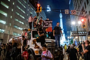 Indianapolis, Indiana: demonstrators gather on a truck while protesting in solidarity with Minneapolis after the killing of George Floyd