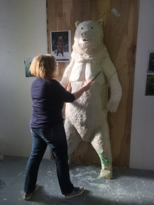 Debbie Lawson at work on Red Bear.
