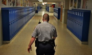 As many as 20,000 police officer are stationed inside American schools to help maintain safety