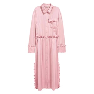 pink satin shirt dress with frill details H&M