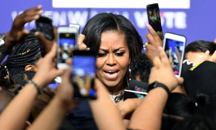 Michelle Obama greets supporters after speaking at a Las Vegas rally in September.