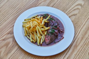 Onglet steak, shallots, red wine jus and frites, served at Littlefrench, Bristol.