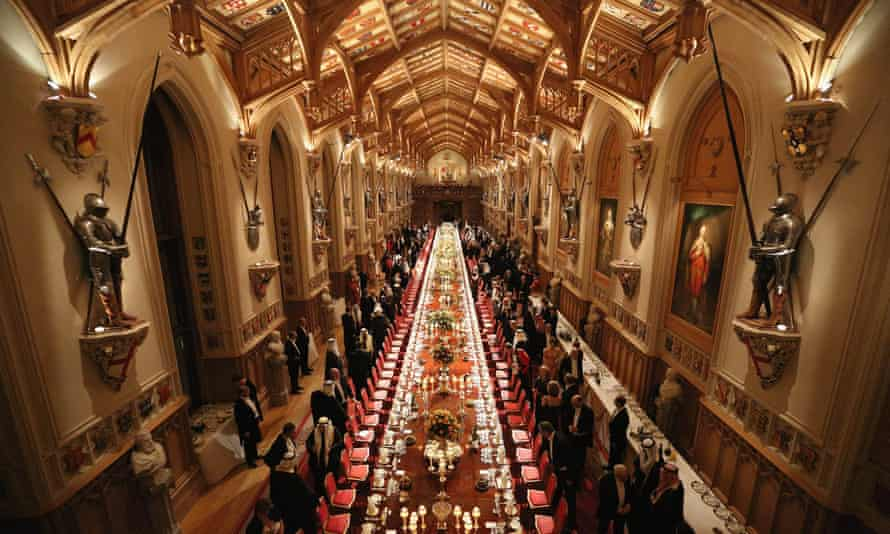 The queen hosts a state banquet at Windsor Castle in the neo-Gothic splendour of St George's Hall, familiar to Queen Victoria.