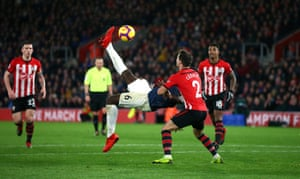 Paul Pogba tries the spectacular but his overhead kick is straight at the keeper.