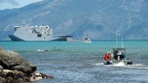 The HMNZS Canterbury has arrived at the South Island's east coast.
