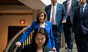 House Speaker Nancy Pelosi arrives for a briefing on Capitol Hill in Washington earlier today, on developments with Iran after attacks on US forces in Iraq
