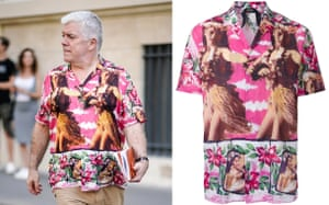 (From left) Tim Blanks; Hawaiian print shirt, now £176, No21 on Farfetch.