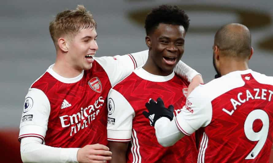 Bukayo Saka and Emile Smith Rowe (left) both came through the youth system at Arsenal and have broken into the first team.