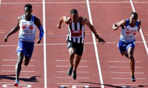 Reece Prescod (left) wins the 100 metres final in June's British championships in Birmingham, with Zharnel Hughes and CJ Ujah picking up the minor medals.