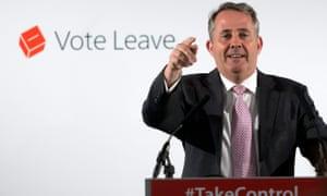 Liam Fox delivering his EU speech earlier today.